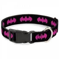 Buckle-Down Batman Signal Fuchsia Pet Collar