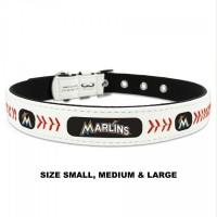 Miami Marlins Classic Leather Baseball Pet Collar
