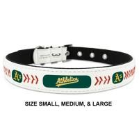 Oakland A's Classic Leather Baseball Pet Collar