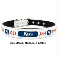Tampa Bay Rays Classic Leather Baseball Pet Collar