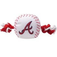 Atlanta Braves Nylon Baseball Rope Tug Dog Toy