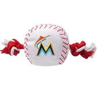 Miami Marlins Nylon Baseball Rope Tug Dog Toy