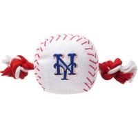 New York Mets Nylon Baseball Rope Tug Dog Toy