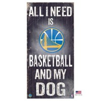 Golden State Warriors Distressed Basketball And My Dog Sign