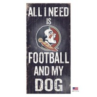 Florida State Seminoles Distressed Football And My Dog Sign
