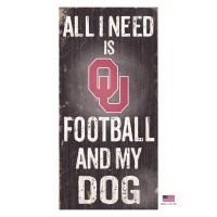 Oklahoma Sooners Distressed Football And My Dog Sign