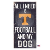Tennessee Volunteers Distressed Football And My Dog Sign