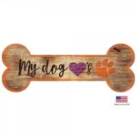 Clemson Tigers Distressed Dog Bone Wooden Sign