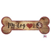 Florida State Seminoles Distressed Dog Bone Wooden Sign