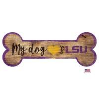 LSU Tigers Distressed Dog Bone Wooden Sign