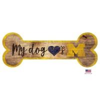 Michigan Wolverines Distressed Dog Bone Wooden Sign