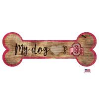 Ohio State Buckeyes Distressed Dog Bone Wooden Sign