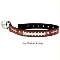 Mississippi State Classic Leather Football Pet Collar