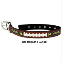 Michigan Wolverines Classic Leather Football Pet Collar