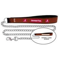 Alabama Crimson Tide Football Leather And Chain Pet Leash