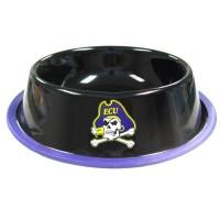 East Carolina Pirates Gloss Black Pet Bowl