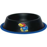 Kansas Jayhawks Gloss Black Pet Bowl