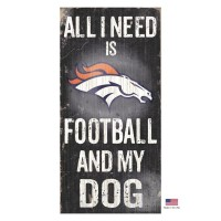 Denver Broncos Distressed Football And My Dog Sign