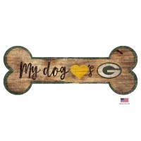 Green Bay Packers Distressed Dog Bone Wooden Sign