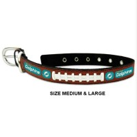 Miami Dolphins Classic Leather Football Pet Collar
