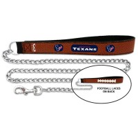 Houston Texans Football Leather And Chain Pet Leash