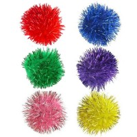 Two Inch Glitter Balls Cat Toy - 6 Pack